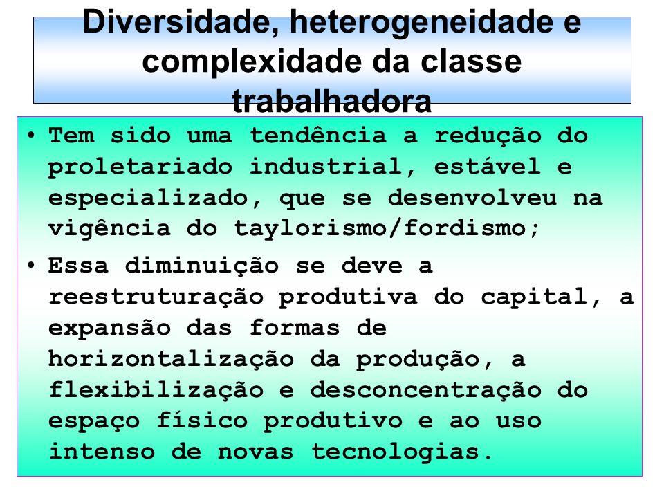 Diversidade, heterogeneidade e complexidade da classe trabalhadora Tem sido uma tendência a redução do proletariado industrial, estável e especializad