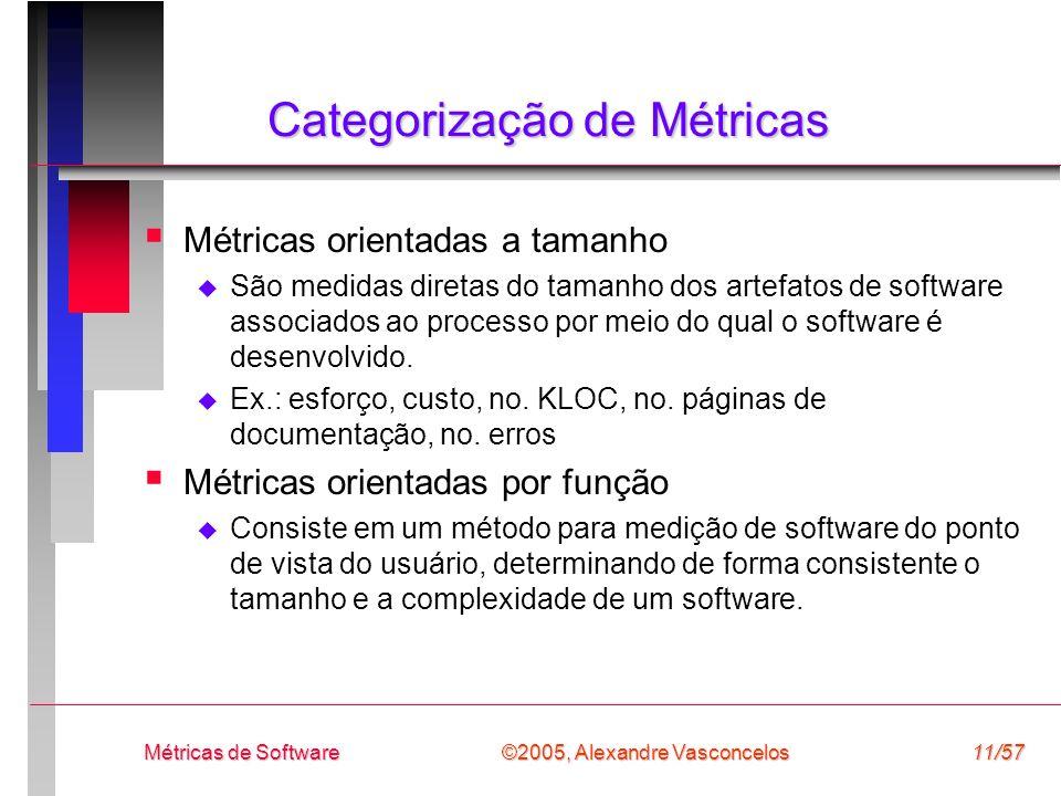 ©2005, Alexandre Vasconcelos Métricas de Software11/57 Categorização de Métricas Métricas orientadas a tamanho São medidas diretas do tamanho dos arte