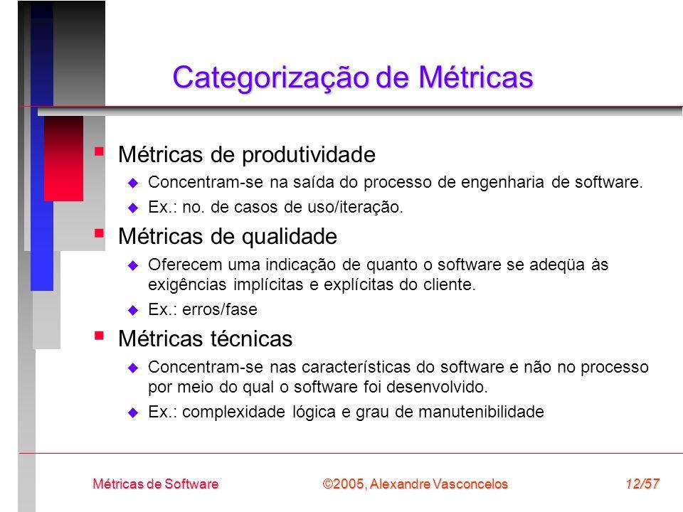 ©2005, Alexandre Vasconcelos Métricas de Software12/57 Categorização de Métricas Métricas de produtividade Concentram-se na saída do processo de engen