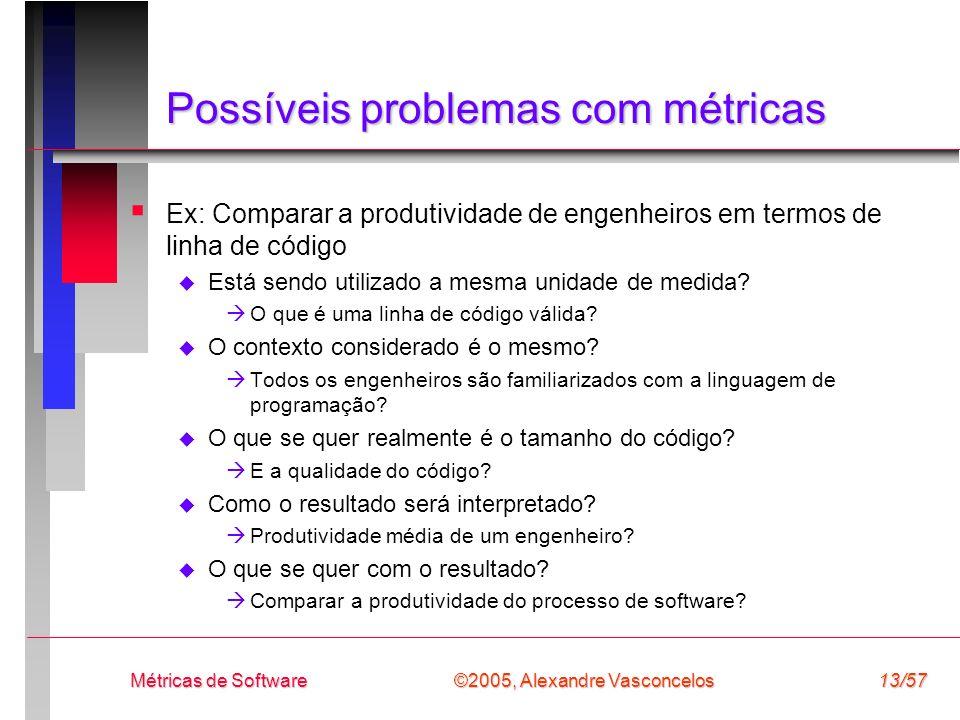 ©2005, Alexandre Vasconcelos Métricas de Software13/57 Possíveis problemas com métricas Ex: Comparar a produtividade de engenheiros em termos de linha