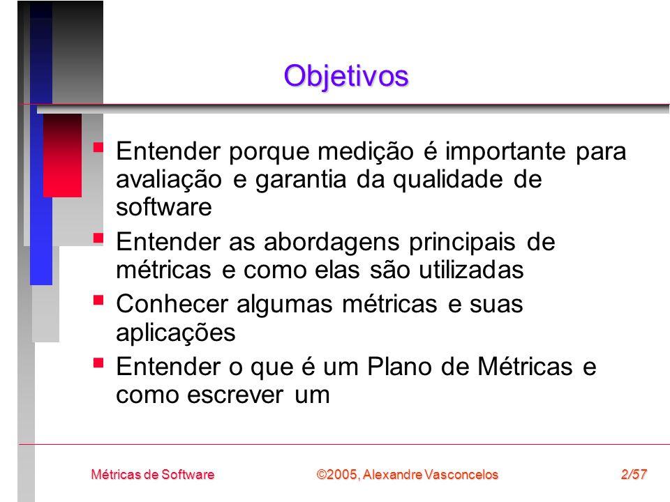 ©2005, Alexandre Vasconcelos Métricas de Software2/57 Objetivos Entender porque medição é importante para avaliação e garantia da qualidade de softwar