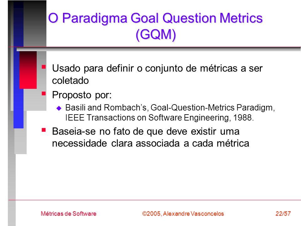 ©2005, Alexandre Vasconcelos Métricas de Software22/57 O Paradigma Goal Question Metrics (GQM) Usado para definir o conjunto de métricas a ser coletad
