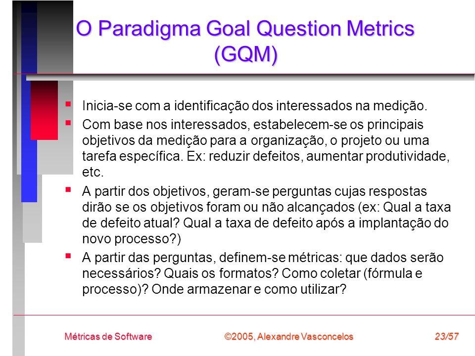 ©2005, Alexandre Vasconcelos Métricas de Software23/57 O Paradigma Goal Question Metrics (GQM) Inicia-se com a identificação dos interessados na mediç