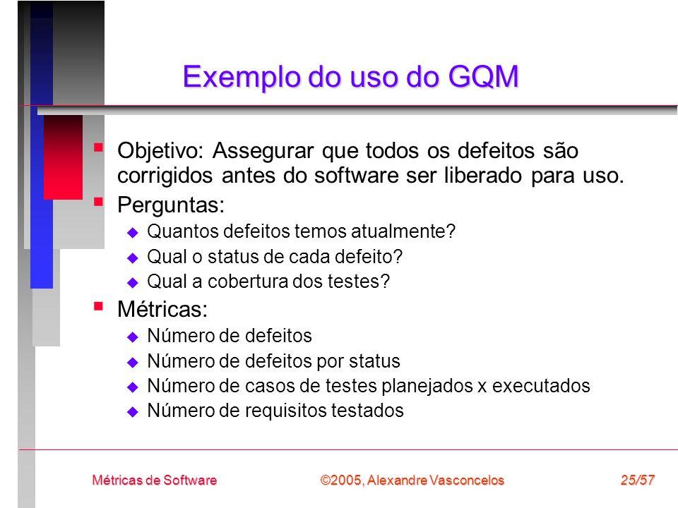 ©2005, Alexandre Vasconcelos Métricas de Software25/57 Exemplo do uso do GQM Objetivo: Assegurar que todos os defeitos são corrigidos antes do softwar
