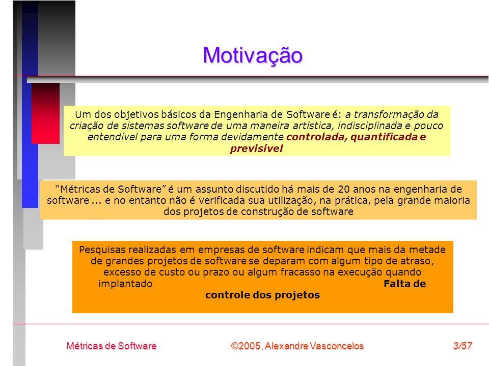 ©2005, Alexandre Vasconcelos Métricas de Software3/57 Motivação Um dos objetivos básicos da Engenharia de Software é: a transformação da criação de si