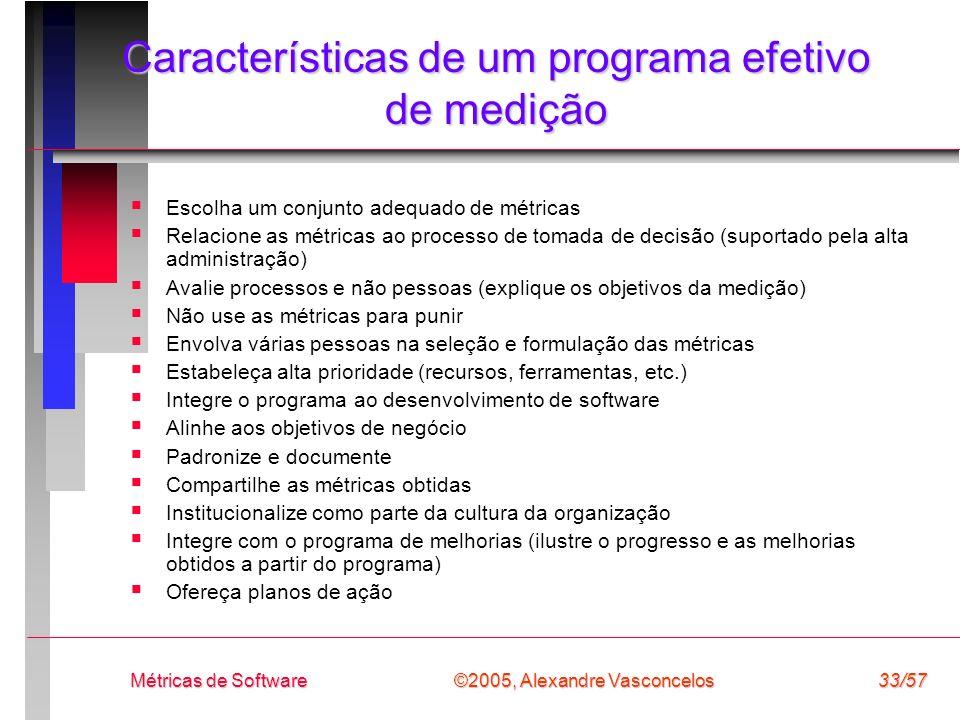©2005, Alexandre Vasconcelos Métricas de Software33/57 Características de um programa efetivo de medição Escolha um conjunto adequado de métricas Rela