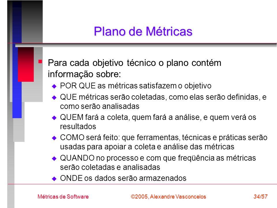 ©2005, Alexandre Vasconcelos Métricas de Software34/57 Plano de Métricas Para cada objetivo técnico o plano contém informação sobre: POR QUE as métric