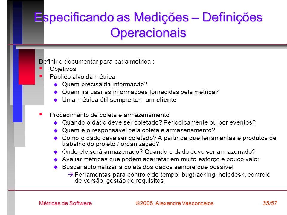 ©2005, Alexandre Vasconcelos Métricas de Software35/57 Especificando as Medições – Definições Operacionais Definir e documentar para cada métrica : Ob
