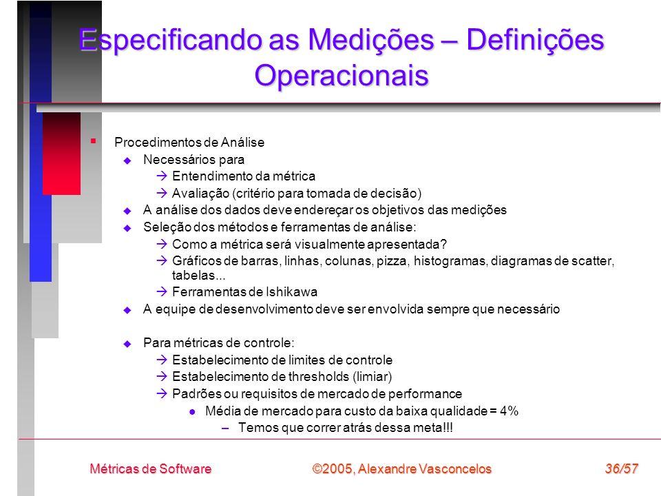 ©2005, Alexandre Vasconcelos Métricas de Software36/57 Especificando as Medições – Definições Operacionais Procedimentos de Análise Necessários para E