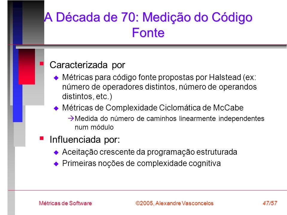 ©2005, Alexandre Vasconcelos Métricas de Software47/57 A Década de 70: Medição do Código Fonte Caracterizada por Métricas para código fonte propostas