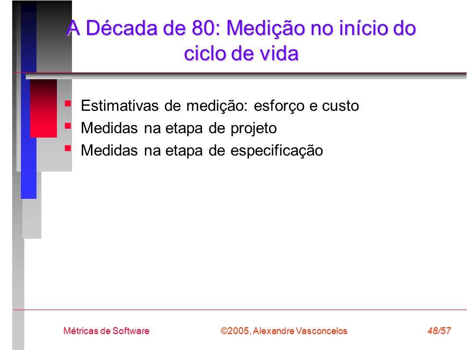 ©2005, Alexandre Vasconcelos Métricas de Software48/57 A Década de 80: Medição no início do ciclo de vida Estimativas de medição: esforço e custo Medi