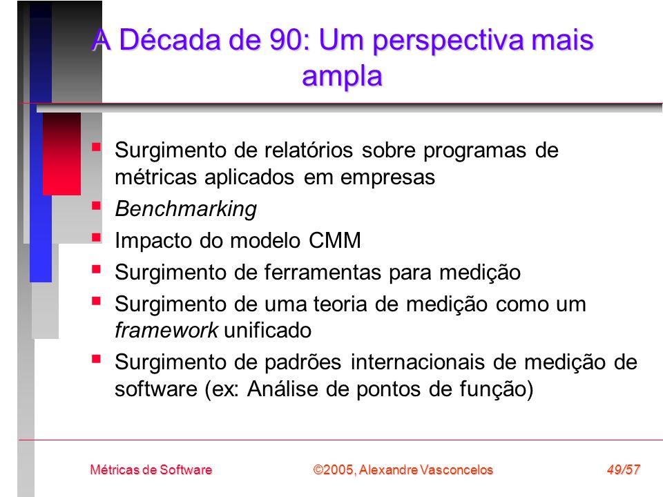©2005, Alexandre Vasconcelos Métricas de Software49/57 A Década de 90: Um perspectiva mais ampla Surgimento de relatórios sobre programas de métricas