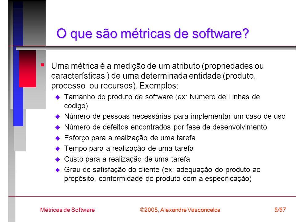©2005, Alexandre Vasconcelos Métricas de Software56/57 Referências Fenton NE and Pfleeger SL, Software Metrics: A Rigorous & Practical Approach (2nd Ed.), PWS, 1998.