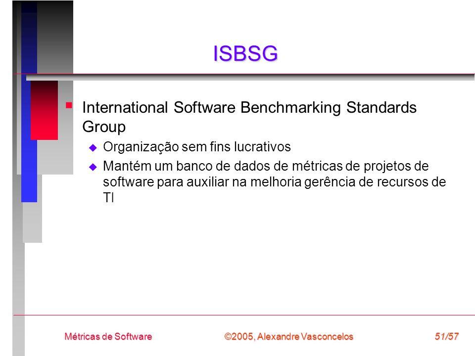 ©2005, Alexandre Vasconcelos Métricas de Software51/57 ISBSG International Software Benchmarking Standards Group Organização sem fins lucrativos Manté