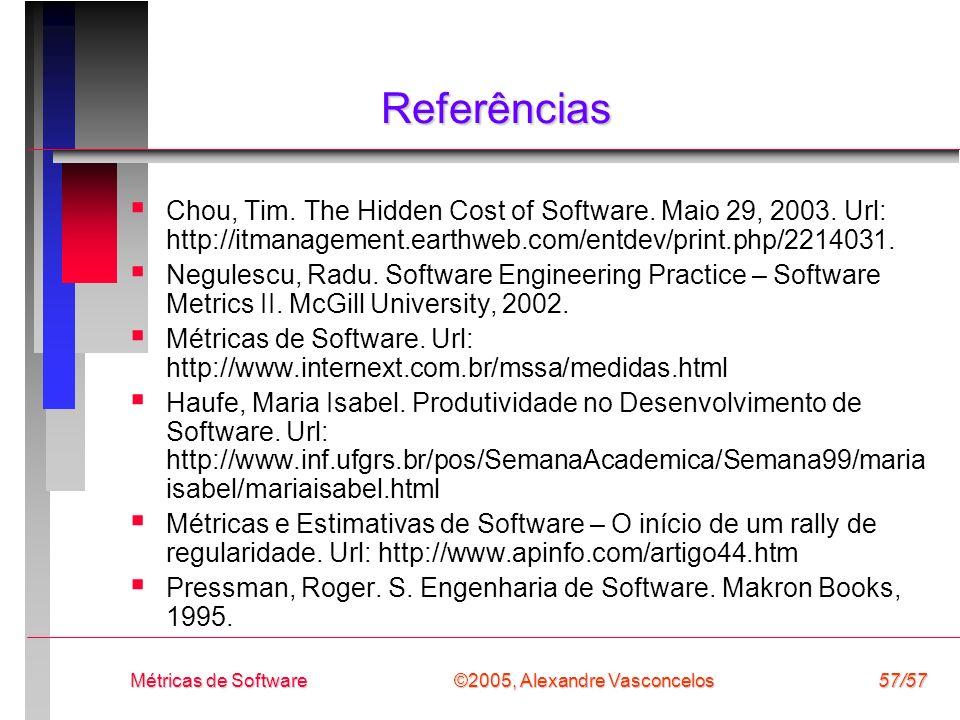 ©2005, Alexandre Vasconcelos Métricas de Software57/57 Referências Chou, Tim. The Hidden Cost of Software. Maio 29, 2003. Url: http://itmanagement.ear