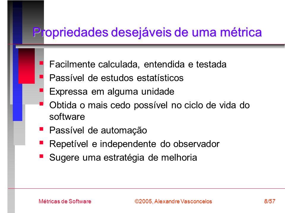 ©2005, Alexandre Vasconcelos Métricas de Software8/57 Propriedades desejáveis de uma métrica Facilmente calculada, entendida e testada Passível de est