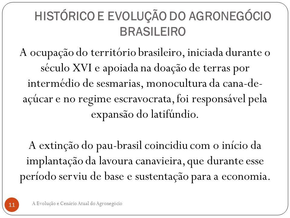 HISTÓRICO E EVOLUÇÃO DO AGRONEGÓCIO BRASILEIRO A ocupação do território brasileiro, iniciada durante o século XVI e apoiada na doação de terras por in