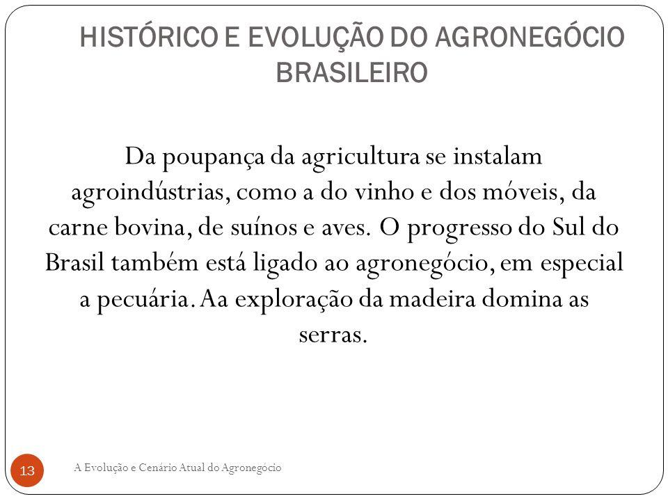 HISTÓRICO E EVOLUÇÃO DO AGRONEGÓCIO BRASILEIRO Da poupança da agricultura se instalam agroindústrias, como a do vinho e dos móveis, da carne bovina, d
