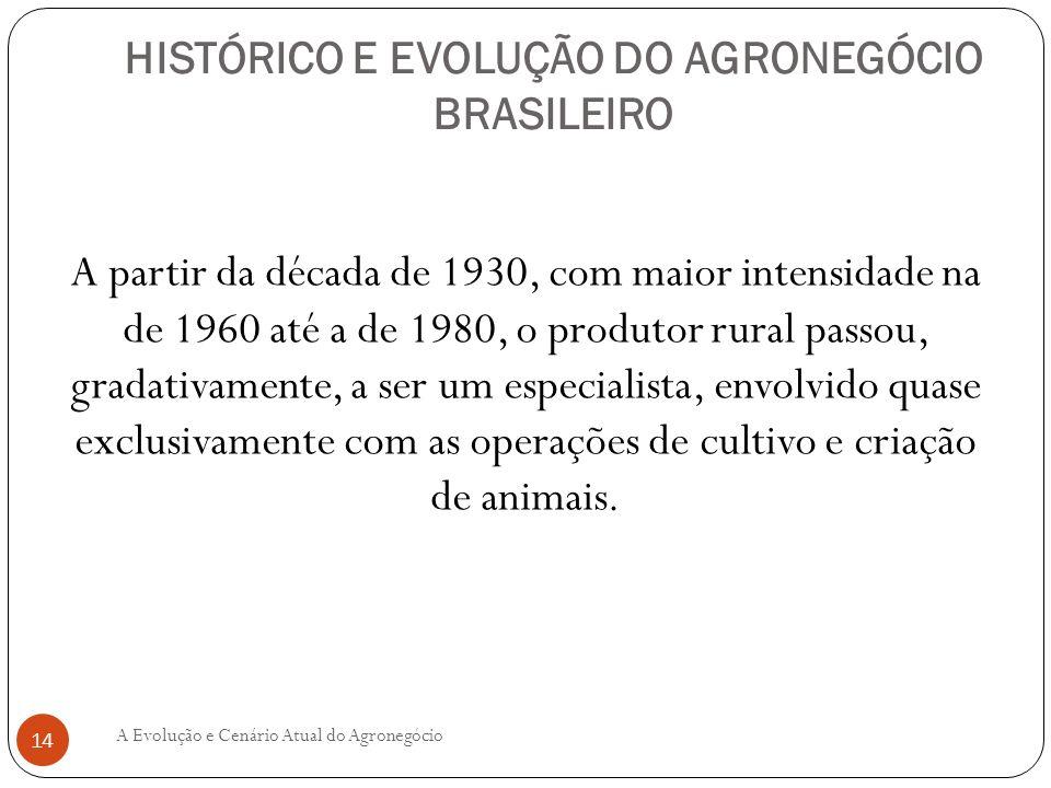 HISTÓRICO E EVOLUÇÃO DO AGRONEGÓCIO BRASILEIRO A partir da década de 1930, com maior intensidade na de 1960 até a de 1980, o produtor rural passou, gr