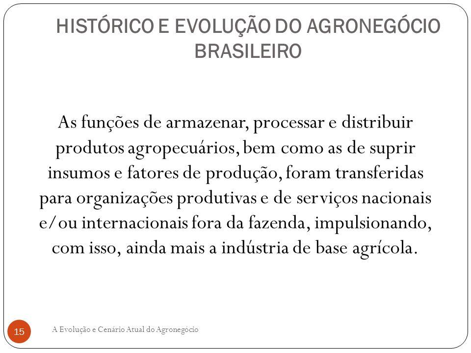 HISTÓRICO E EVOLUÇÃO DO AGRONEGÓCIO BRASILEIRO As funções de armazenar, processar e distribuir produtos agropecuários, bem como as de suprir insumos e