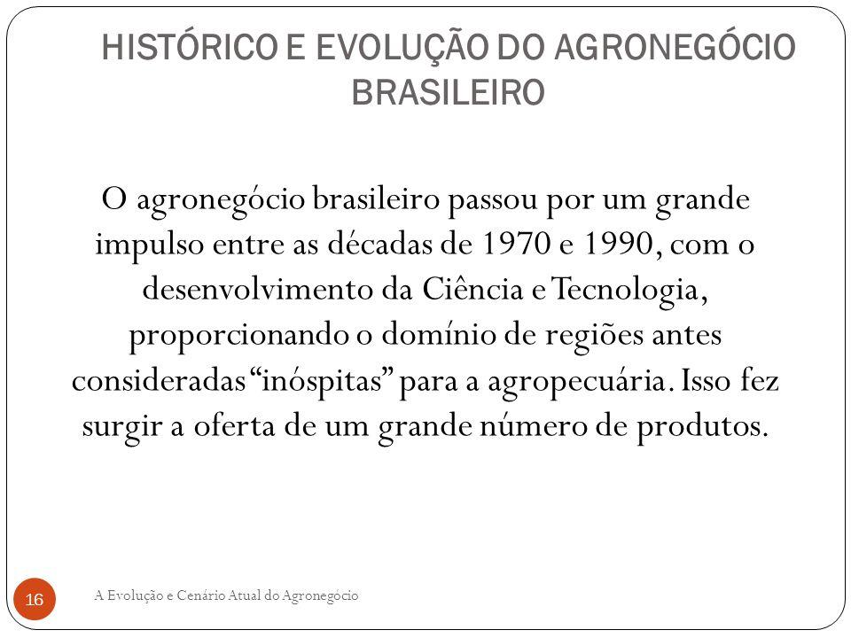HISTÓRICO E EVOLUÇÃO DO AGRONEGÓCIO BRASILEIRO O agronegócio brasileiro passou por um grande impulso entre as décadas de 1970 e 1990, com o desenvolvi