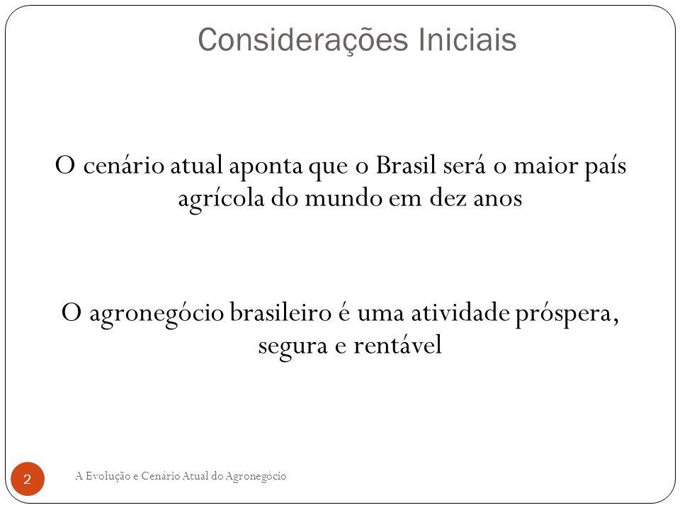 Considerações Iniciais O cenário atual aponta que o Brasil será o maior país agrícola do mundo em dez anos O agronegócio brasileiro é uma atividade pr
