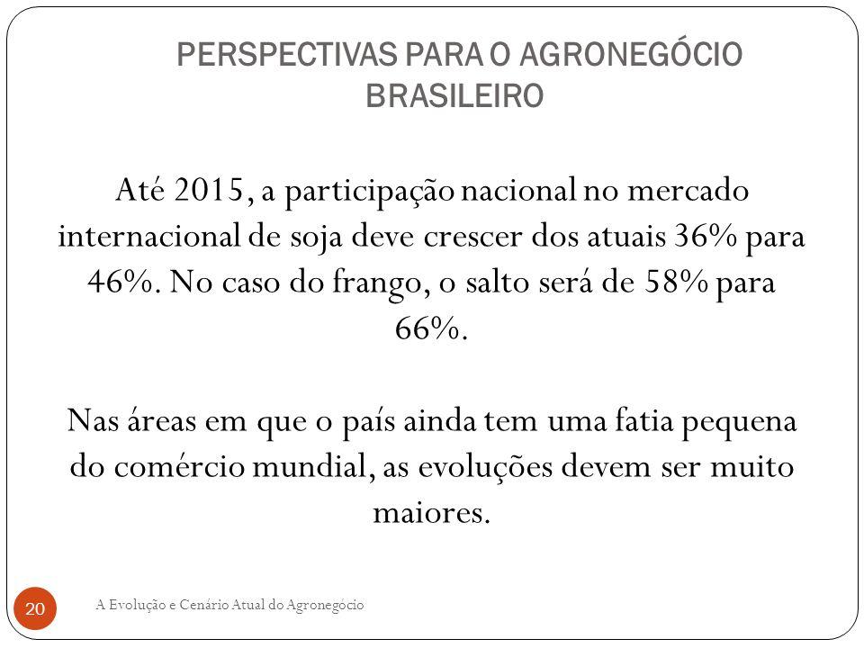 PERSPECTIVAS PARA O AGRONEGÓCIO BRASILEIRO Até 2015, a participação nacional no mercado internacional de soja deve crescer dos atuais 36% para 46%. No