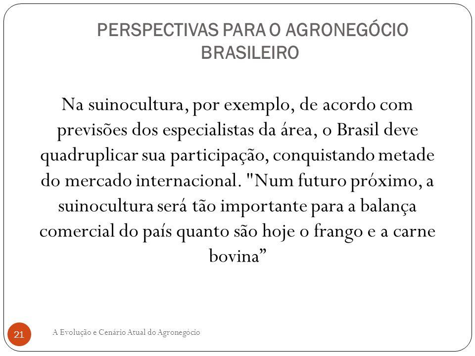 PERSPECTIVAS PARA O AGRONEGÓCIO BRASILEIRO Na suinocultura, por exemplo, de acordo com previsões dos especialistas da área, o Brasil deve quadruplicar
