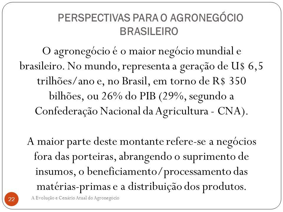 PERSPECTIVAS PARA O AGRONEGÓCIO BRASILEIRO O agronegócio é o maior negócio mundial e brasileiro. No mundo, representa a geração de U$ 6,5 trilhões/ano