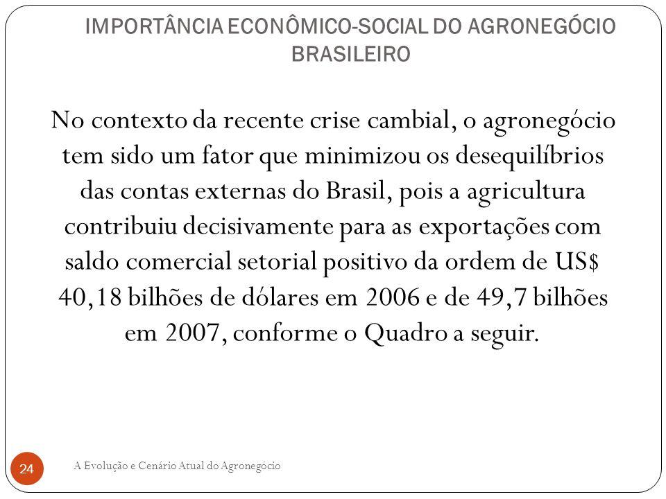 IMPORTÂNCIA ECONÔMICO-SOCIAL DO AGRONEGÓCIO BRASILEIRO No contexto da recente crise cambial, o agronegócio tem sido um fator que minimizou os desequil