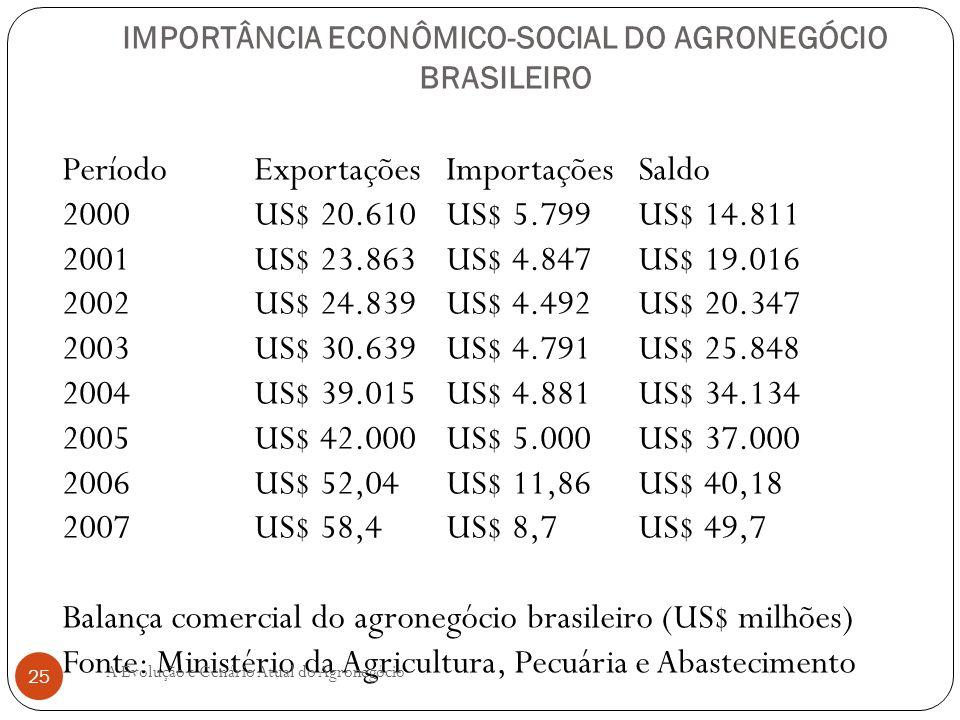 IMPORTÂNCIA ECONÔMICO-SOCIAL DO AGRONEGÓCIO BRASILEIRO Período Exportações Importações Saldo 2000 US$ 20.610 US$ 5.799 US$ 14.811 2001 US$ 23.863 US$
