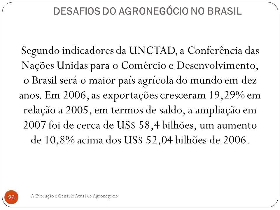DESAFIOS DO AGRONEGÓCIO NO BRASIL Segundo indicadores da UNCTAD, a Conferência das Nações Unidas para o Comércio e Desenvolvimento, o Brasil será o ma