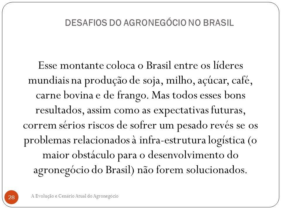 DESAFIOS DO AGRONEGÓCIO NO BRASIL Esse montante coloca o Brasil entre os líderes mundiais na produção de soja, milho, açúcar, café, carne bovina e de