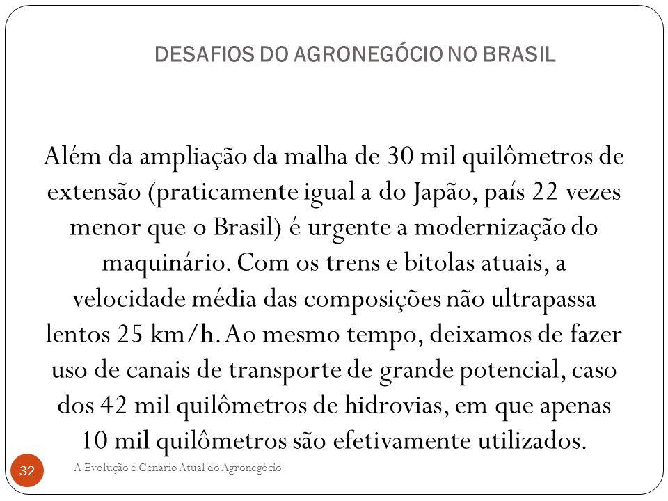 DESAFIOS DO AGRONEGÓCIO NO BRASIL Além da ampliação da malha de 30 mil quilômetros de extensão (praticamente igual a do Japão, país 22 vezes menor que