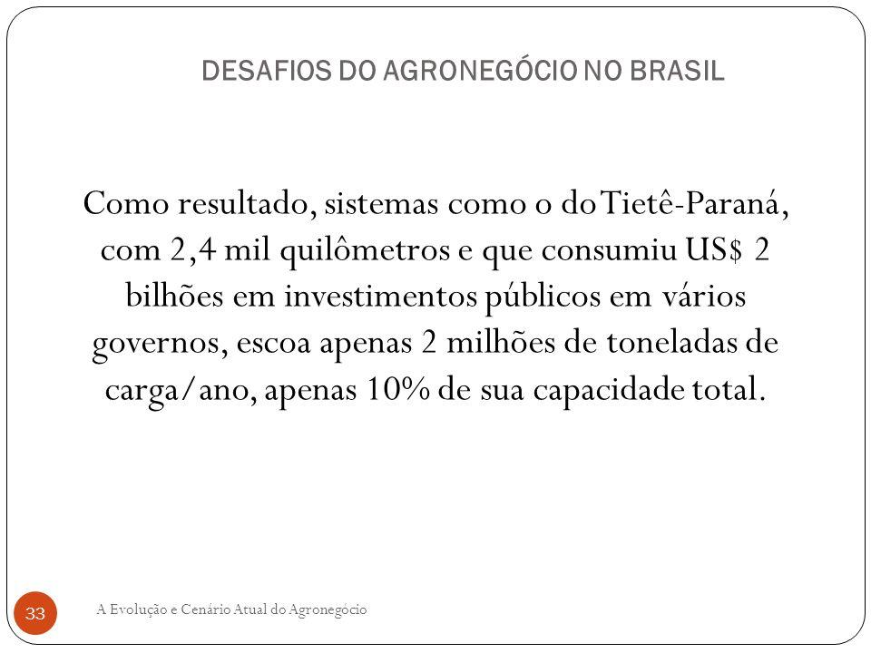 DESAFIOS DO AGRONEGÓCIO NO BRASIL Como resultado, sistemas como o do Tietê-Paraná, com 2,4 mil quilômetros e que consumiu US$ 2 bilhões em investiment