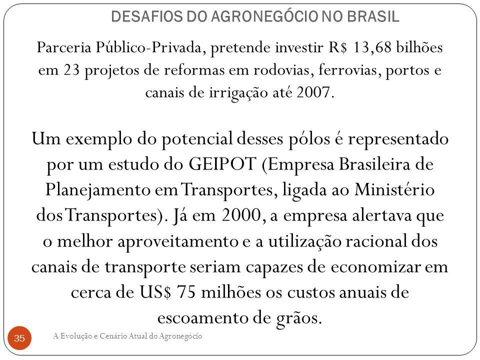 DESAFIOS DO AGRONEGÓCIO NO BRASIL Parceria Público-Privada, pretende investir R$ 13,68 bilhões em 23 projetos de reformas em rodovias, ferrovias, port