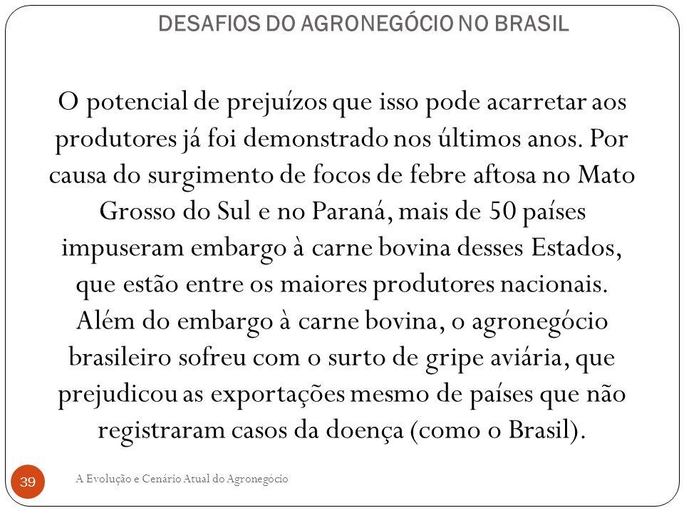 DESAFIOS DO AGRONEGÓCIO NO BRASIL O potencial de prejuízos que isso pode acarretar aos produtores já foi demonstrado nos últimos anos. Por causa do su