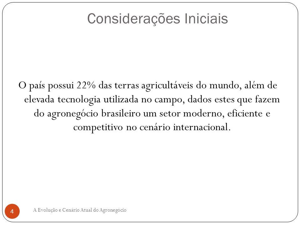 O país possui 22% das terras agricultáveis do mundo, além de elevada tecnologia utilizada no campo, dados estes que fazem do agronegócio brasileiro um