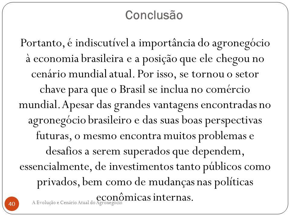 Conclusão Portanto, é indiscutível a importância do agronegócio à economia brasileira e a posição que ele chegou no cenário mundial atual. Por isso, s