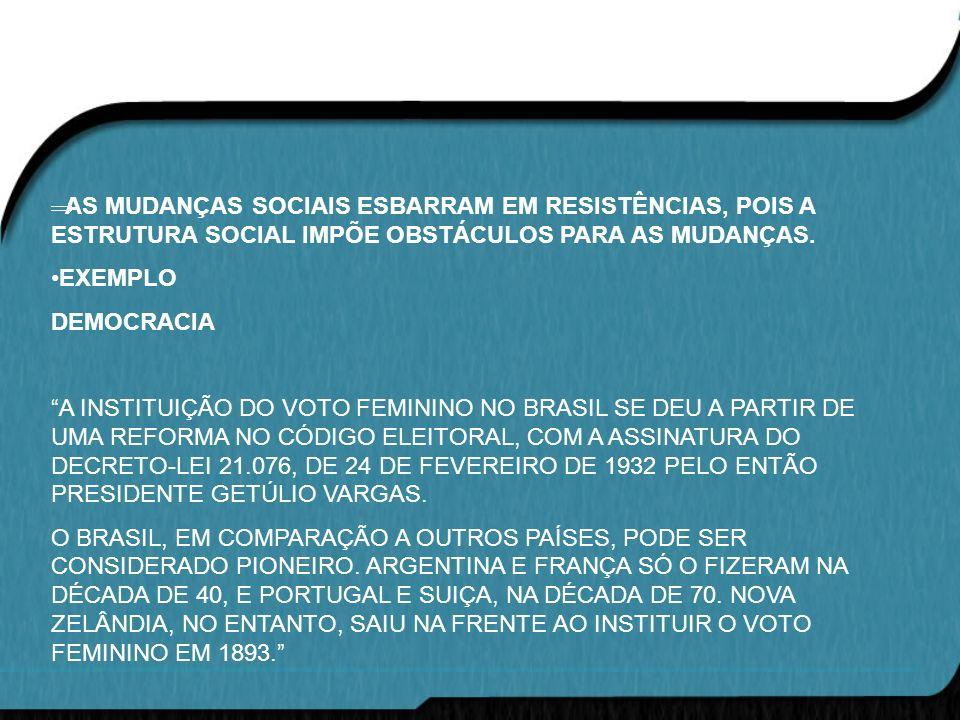 AS MUDANÇAS SOCIAIS ESBARRAM EM RESISTÊNCIAS, POIS A ESTRUTURA SOCIAL IMPÕE OBSTÁCULOS PARA AS MUDANÇAS. EXEMPLO DEMOCRACIA A INSTITUIÇÃO DO VOTO FEMI