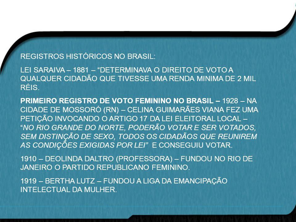 REGISTROS HISTÓRICOS NO BRASIL: LEI SARAIVA – 1881 – DETERMINAVA O DIREITO DE VOTO A QUALQUER CIDADÃO QUE TIVESSE UMA RENDA MINIMA DE 2 MIL RÉIS. PRIM