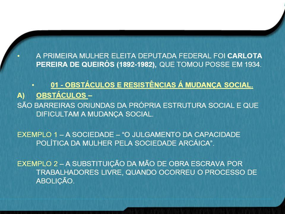 A PRIMEIRA MULHER ELEITA DEPUTADA FEDERAL FOI CARLOTA PEREIRA DE QUEIRÓS (1892-1982), QUE TOMOU POSSE EM 1934. 01 - OBSTÁCULOS E RESISTÊNCIAS Á MUDANÇ
