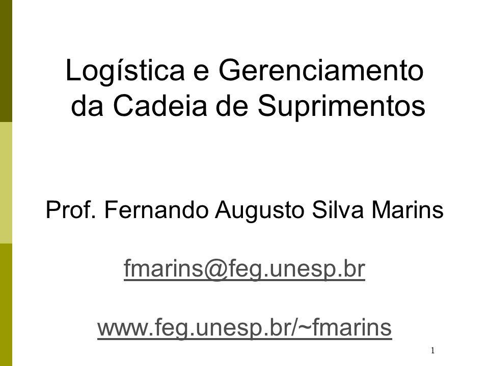 1 Logística e Gerenciamento da Cadeia de Suprimentos Prof. Fernando Augusto Silva Marins fmarins@feg.unesp.br www.feg.unesp.br/~fmarins fmarins@feg.un