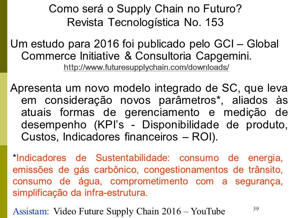 39 Como será o Supply Chain no Futuro? Revista Tecnologística No. 153 Um estudo para 2016 foi publicado pelo GCI – Global Commerce Initiative & Consul