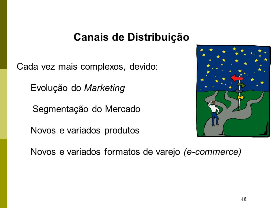 48 Canais de Distribuição Cada vez mais complexos, devido: Evolução do Marketing Segmentação do Mercado Novos e variados produtos Novos e variados formatos de varejo (e-commerce)