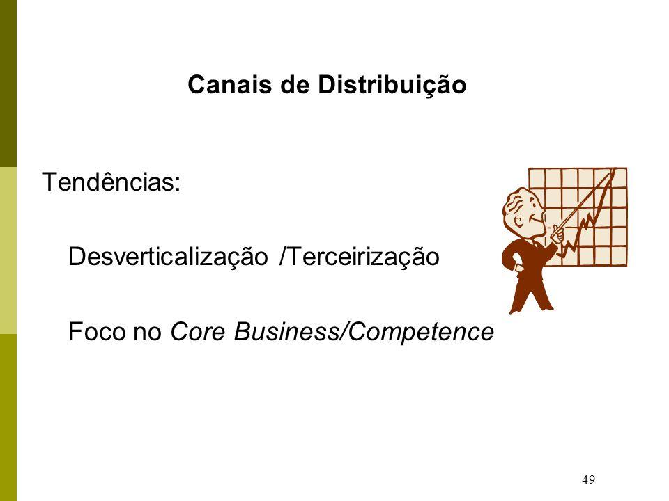 49 Canais de Distribuição Tendências: Desverticalização /Terceirização Foco no Core Business/Competence