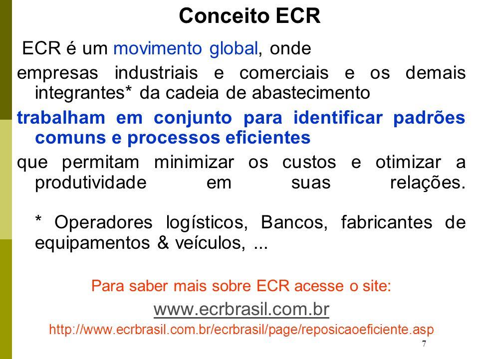 7 ECR é um movimento global, onde empresas industriais e comerciais e os demais integrantes* da cadeia de abastecimento trabalham em conjunto para identificar padrões comuns e processos eficientes que permitam minimizar os custos e otimizar a produtividade em suas relações.