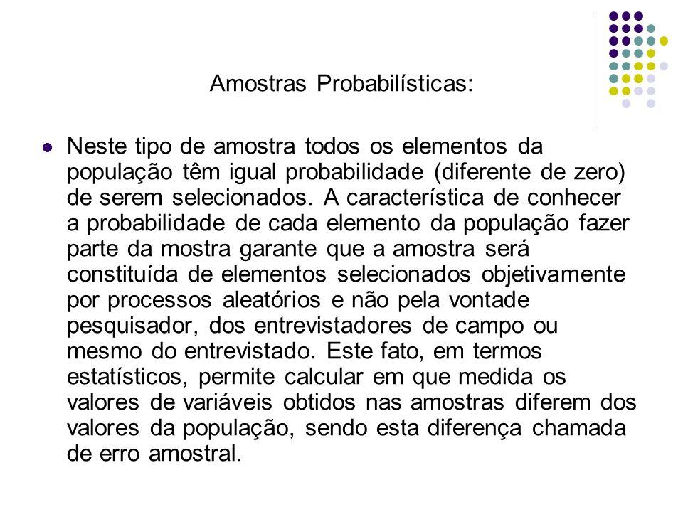 Amostras Probabilísticas: Neste tipo de amostra todos os elementos da população têm igual probabilidade (diferente de zero) de serem selecionados. A c