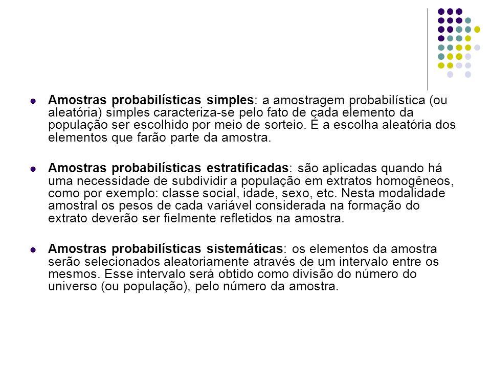 Amostras probabilísticas simples: a amostragem probabilística (ou aleatória) simples caracteriza-se pelo fato de cada elemento da população ser escolh