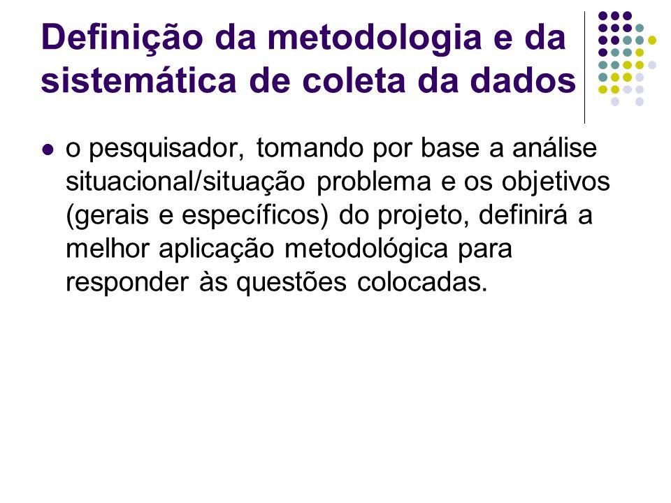 Definição da metodologia e da sistemática de coleta da dados o pesquisador, tomando por base a análise situacional/situação problema e os objetivos (g